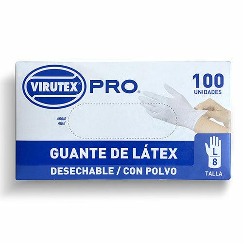 guante de látex blanco con polvo